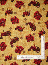 International Harvester Farmall Vintage Tractor Wheat Cotton Fabric By The Yard