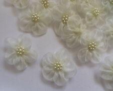 "1.5"" Antique White Organza Ribbon Flowers w/ Beads -25 Pcs -R0150"