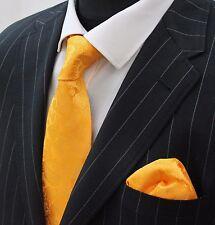 Tie Cravatta Con Fazzoletto Vibrante Arancione Paisley