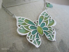 Antiguo Collar Colgante de Mariposa Bohm de plata/verde/aqua plique-a-jour BNWT