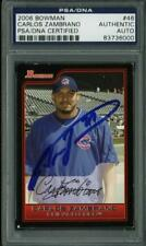 Cubs Carlos Zambrano Authentic Signed Card 2006 Bowman #46 PSA/DNA Slabbed
