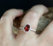 2.10CT Red Ruby Oval Diamond Halo Engagement Vintage Cocktail Ring FREE SHIPPING