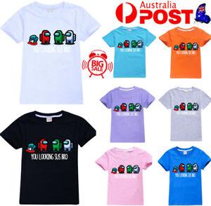 Kids Boys Girl Among Us T-shirt Impostor Crewmate Gaming Top Gift 100% Cotton AU