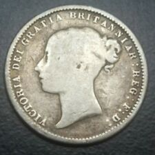 1872 GREAT BRITAIN 6 PENCE QUEEN VICTORIA OLD SIXPENCE SILVER COIN KM 751.2