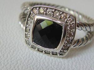 $650 DAVID YURMAN , SS ALBION BLACK ONYX DIAMOND ICE RING sz7