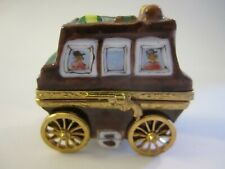 Limoges France Peint Main Wild West Stagecoach Hinged Trinket Box