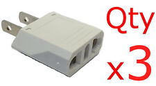 European to American Plug Adapter 3-pk- Europe Asia to US-Style converter