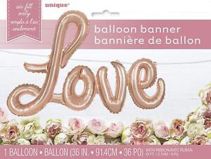 Rose Gold LOVE Script Lettering Air Fill Only Foil Party Balloon, Banner Ribbon