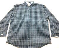 Izod New Mens Blue Plaid Long Sleeve Button Front Shirt Size 3XLT Tall