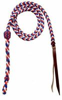Western Horse Barrel Racing Red White Blue Braided Nylon Over and Under whip