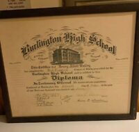 1911 Burlington Vermont VT High School Diploma Vintage no Glass