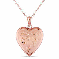 Amour Rose Plated Sterling Silver Heart Locket Necklace