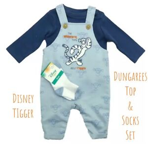 Disney Winnie the Pooh Tigger Baby Boys Dungarees Top & Socks Outfit Set 3 - 18