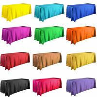 """90""""Wide Rectangle Satin Tablecloth For Wedding Party Banquet Events Decorations"""