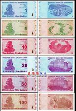 Zimbabwe 2009 year 1+5+10+20+50+100 Dollar BrandNew Banknotes set 6PCS