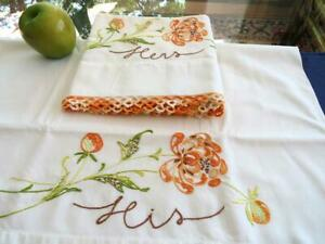2 Vtg Pepperell Muslin Pillowcases Embroidered His Hers Fall Mums Tatted Lace