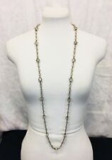 Vintage 90's Champagne Beads Long Necklace. Flapper length.
