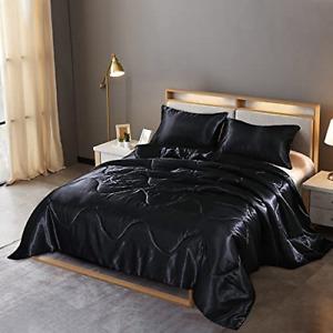 Comforter Bedding Set Solid Satin Silk Quilt Luxury Ultra Soft Pillowcase Black