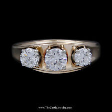 Ridged Edges Crafted in 14k Yg Concaved Design 1cttw Three Diamond Ring w/