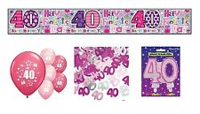 40th BIRTHDAY PARTY PACK DECORATIONS BANNER BALLOONS CONFETTI CANDLES(SE.P.4)