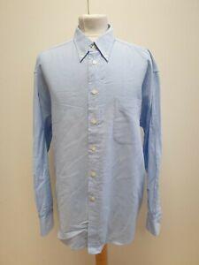 MENS BEN SHERMAN BLUE BUTTON COLLAR RELAXED FIT L/SLEEVE SHIRT UK XL (4) EU 54