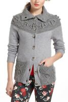 Sleeping On Snow Anthropologie Gray Cablepom Cardigan Sweater Size Small S