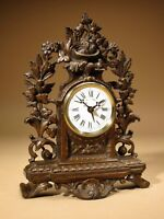 Rare Old Brown Colour Gild Cast iron Alarm mantel Clock Circa: 1890-1900