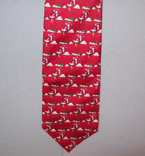 "Hallmark's Holiday Traditions SANTA IN A GOLF SWING Silk 56"" Neck Tie - USA #697"