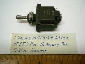 1 MS24524-24 Mil Toggle Switch Sealed DPST 20 Amp CUTLER H. Lot 143A, Made USA