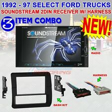 VM-622HB 2DIN STEREO RADIO FOR SELECT 1992-97 FORD TRUCKS W/ DASH KIT + HARNESS