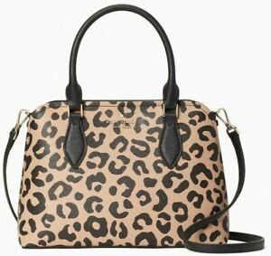 Kate Spade Darcy Leopard Leather Satchel WKR00536 X-Body Cheetah Leopardo $359