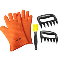 Mockins BBQ Set, Silicone Barbecue Gloves, Meat Claw Shredders, Basting Brush