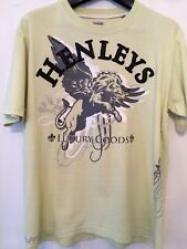 Mens Green Lime Yellow Henleys Studded Motif T Shirt Large Graphic Lion