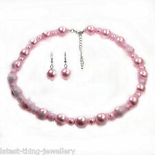 Pale Pink Necklace Earring Set Glass Pearl Bead And Ribbon Design