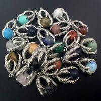 New Natural Gemstones Round Ball Bead Silver Dragon's Claw Reiki Chakra Pendant