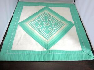 Hand quilted throw pillow cover. Aqua green and white geometric