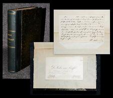 1868 Autograph auf Visitenkarte mit biographischer Notiz Ekkehard Scheffel