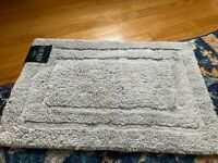 RALPH LAUREN Gray Silver Cotton Bath Rug NON SLIP Plush NEW Mat 17 x 24