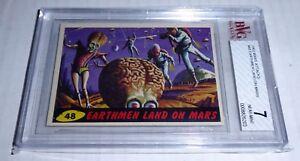 1962 Mars Attacks Earthmen Land On Mars Card #48 BVG 7 Like PSA BGS Alien Horror