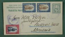 PARAGUAY STAMP COVER UPRATED CARD TO GERMANY 1912   (F72)