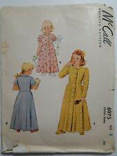 Robe Sleepwear Sewing Pattern McCall 6975 VTG 40's Size 2 Girls Cut Complete