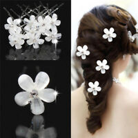 Lot 5Pcs Wedding Bridal White Pearl Flower Hair Pins Rhinestone Crystal Clips TS