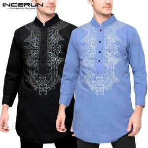 UK STOCK Men's African Dashiki T-shirt Hippy Tops Long Sleeve Ethnic Kaftan Tee