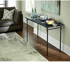 Folding Utility Table Vinyl Top Sturdy Black 20''X48'' Steel Frame Lightweight
