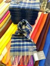 100% pure cashmere scarf by Johnstons of Elgin | Blue Check | Made in Scotland