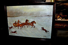 Antique  Russian Horse Sled  with attacking wolfs  Painting