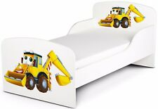 Letto per bambini in legno con materasso Dimensioni:140x70 Mr Escavatore