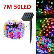 50 LED Solar Powered Fairy String Flower Lights Outdoor Garden Party Xmas Decor