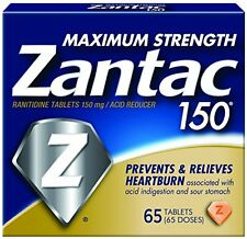 ZANTAC 150 Prevents & Relieves Heartburn Maximum Strength 65 Tablets Each
