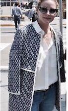 ZARA Blue Ecru Printed That Coat Jacquard Jacket Extra Small XS